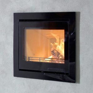 Contura i6G inset wood burning fire built into a wall