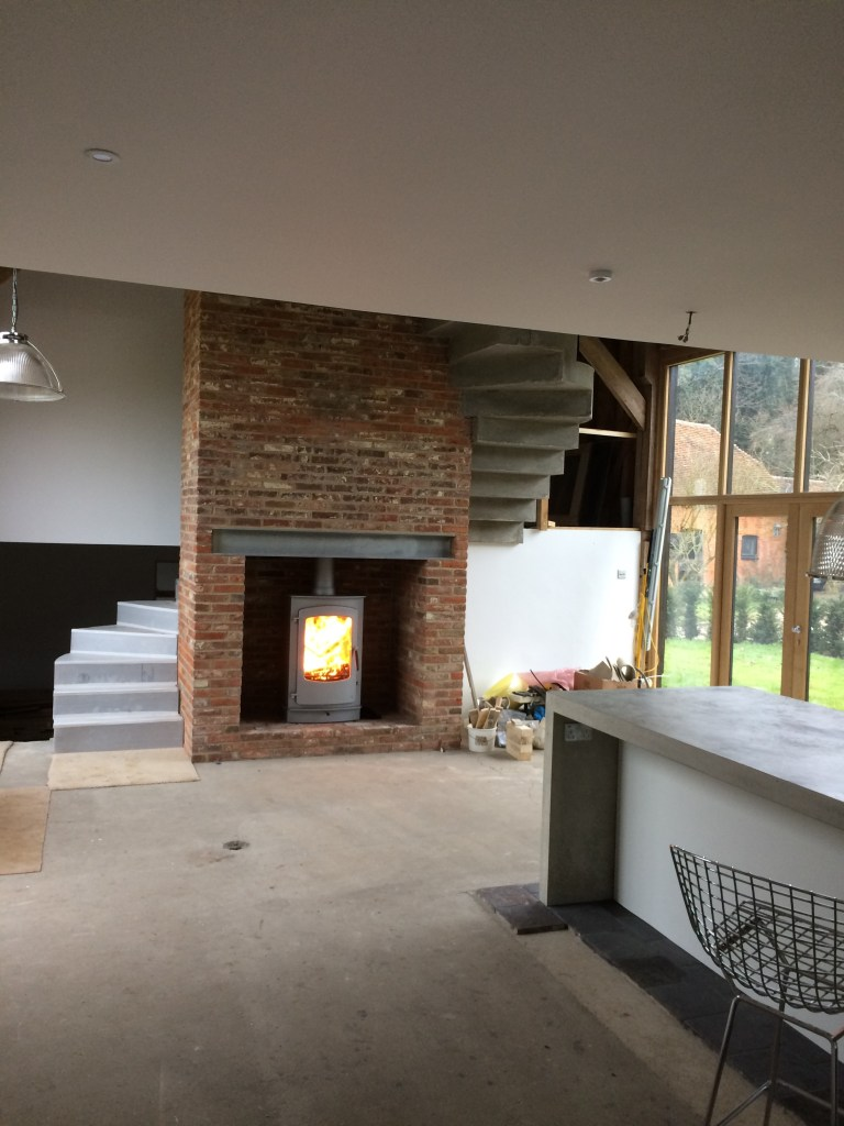 Charnwood Cove 3 wood burning stove installation in chimney breast