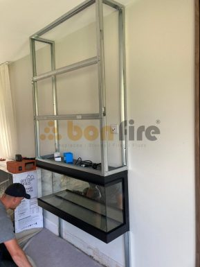 Electric fire is mounted