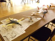 Line up of scale models for judging.