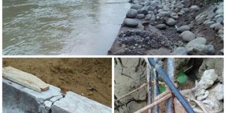 Diduga Asal Jadi, Proyek Tebing Sungai Krueng Seunong Ambruk Kesungai