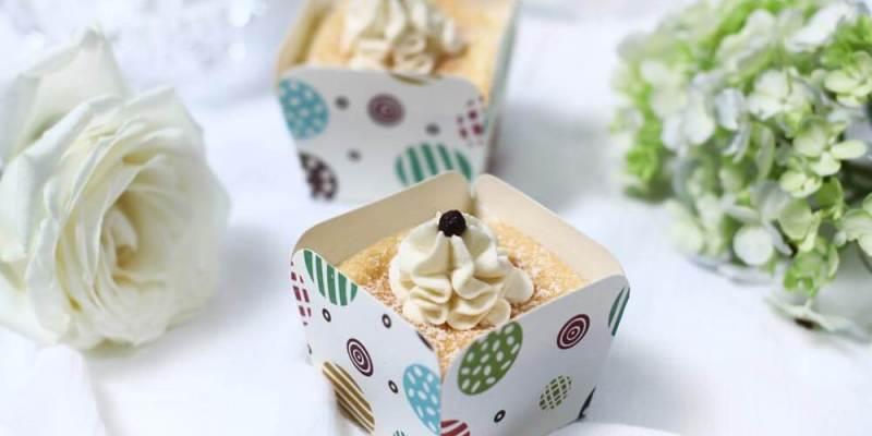 cups of bonheur, fluffy chiffon cupcake, vanilla cream