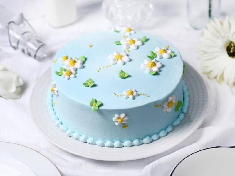 Korean buttercream cake, homemade flower cake, premium lapis Surabaya, birthday cake Jakarta, daisy