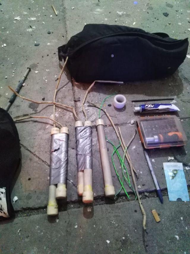 Explosivos con los que intentaron abrir un cajero