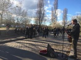 Mauerpark, street musician, Kulturbrauerei, sunny day, spring, Berlin, fire, Easter