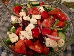 Horiatiki (traditional Greek salad) - Athens Cooking Lessons