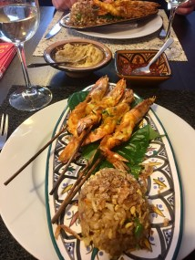 Turmeric galangal spiced king prawns with betel leaves and nasi goreng - Balinese 'Market Tour to Plate', Spice Bazaar