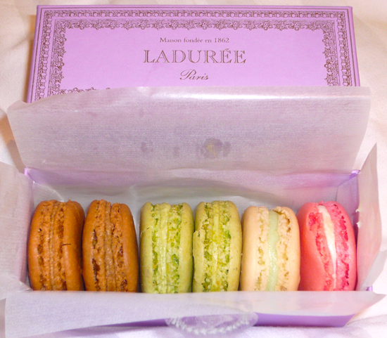 Ladurée macarons. Flavors: coffee, pistachio, orange blossom and rose. Photo by Violetta363.