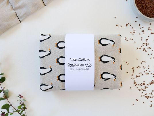 bouillotte en graines de lin bouillotte sèche pingouins enfants