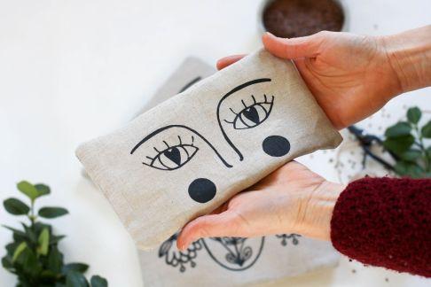 bouillotte sèche en graines de lin yeux masque apaisant compresse chaude (15)