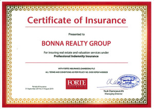 Bonna Realty Group Certificate of Insurance