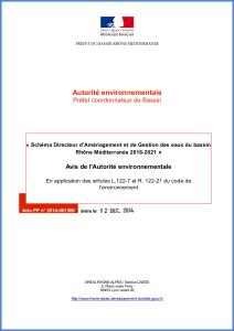 Avis de l'Autorité environnementale