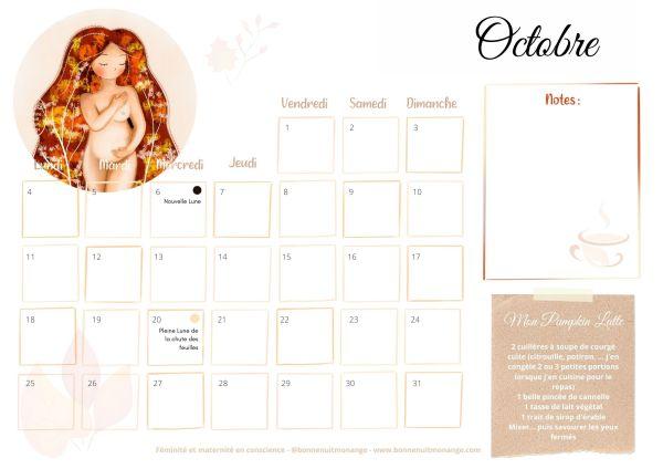 Calendrier d'Octobre - Bonnenuitmonange Copyright 2021