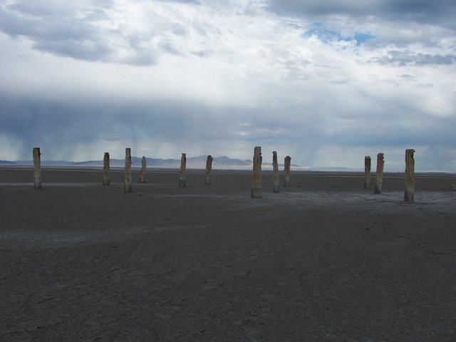 Tall wooden posts that were used for docking boats at Saltair. (photo by Clint Thomsen)