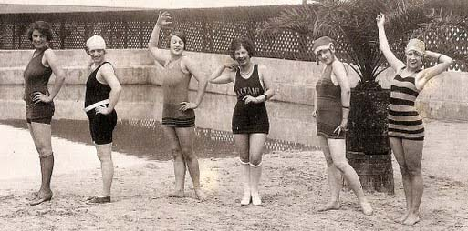 Happy swimmers pose at Saltair (date, source unknown)