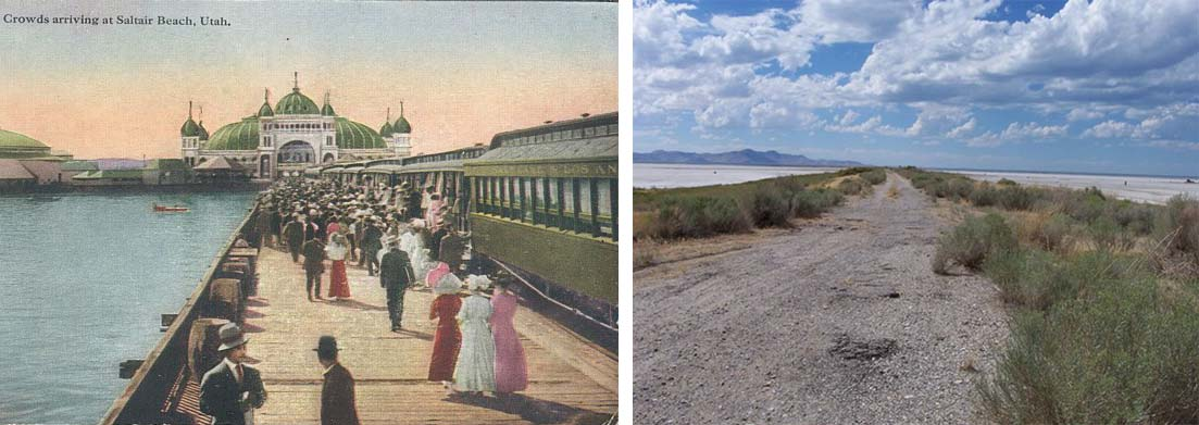 The approach to Saltair I (left) near the turn of the century (source unknown), and the same view today (Clint Thomsen)