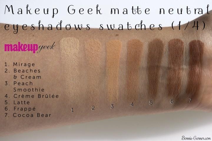Makeup Geek Neutral Matte Eyeshadows Mirage Beaches Cream Peach Smoothie Crème