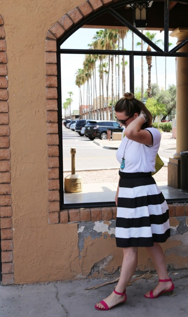 Striped women's bell skirt sewing tutorial and pattern