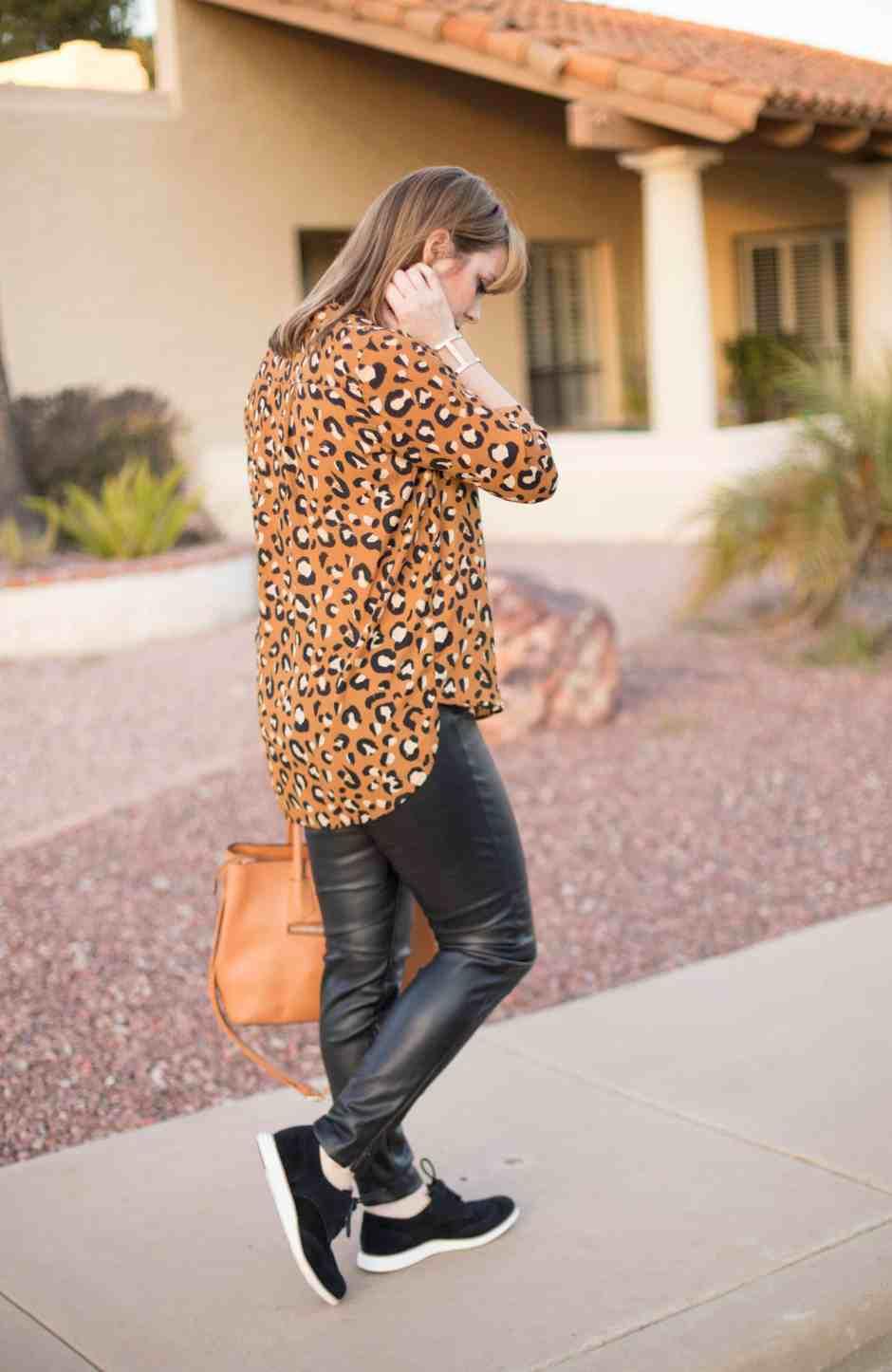 leopard-black-leather-pants