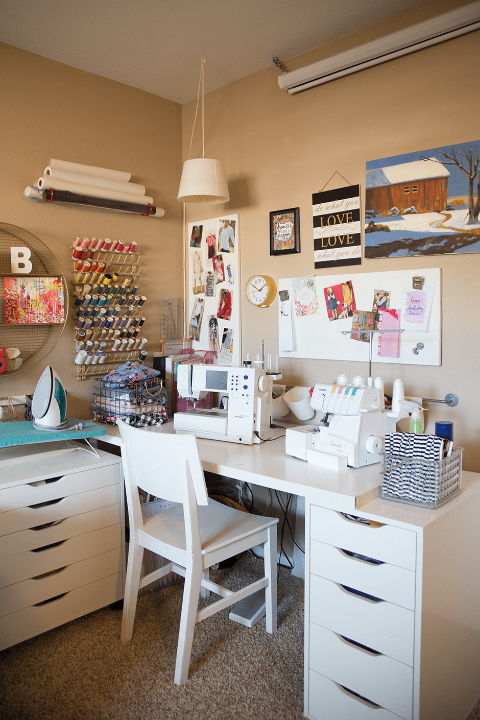 small sewing space with sewing machines