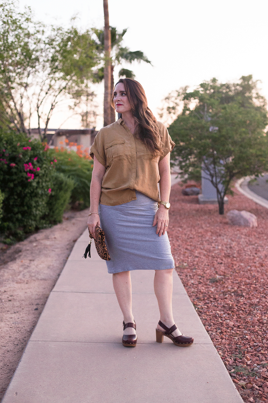 Knit pencil skirts are one of the comfiest, most easy-to-wear staples in my closet and the best part is that they're a breeze to sew! If you're looking for an easy sew skirt project, this is it, even if you don't have a lot of experience sewing with knits! Read on for details about how I created this knit pencil skirt.