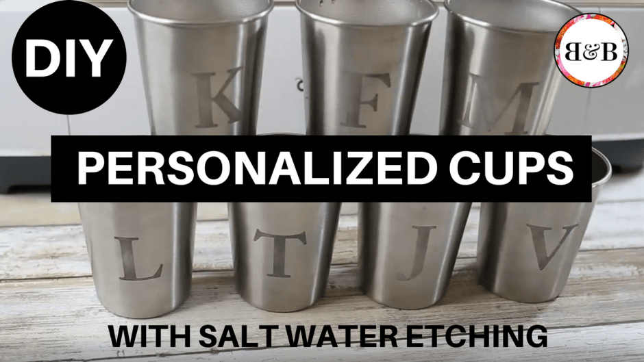 Stop the water cup madness! Etch stainless steel cups for each of your family members and wash only one cup per person!