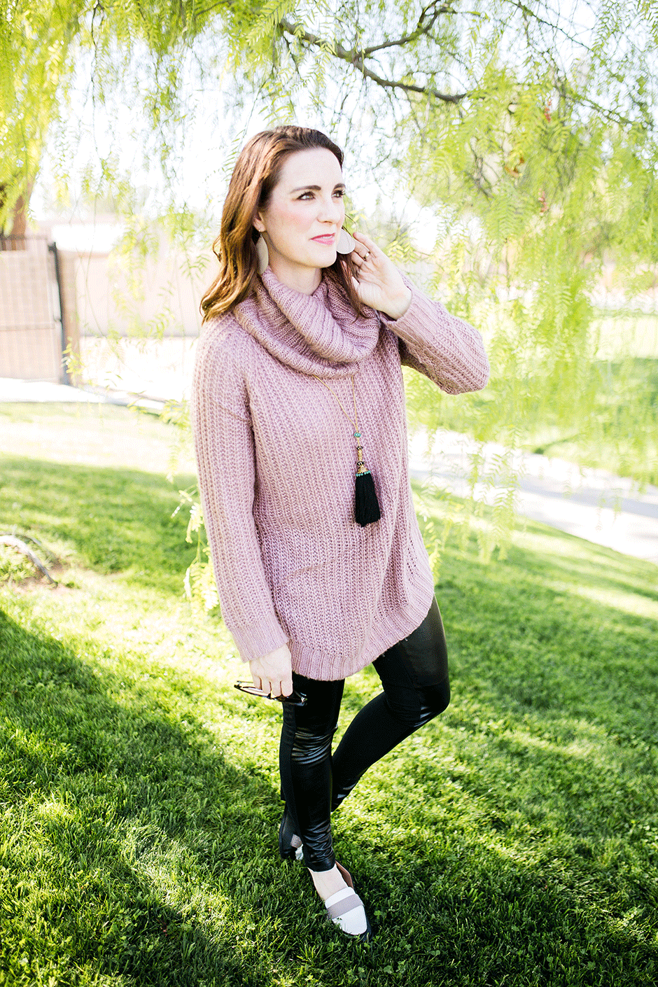 Mom-friendly style: leggings and tunic make a cute daily outfit without sacrificing comfort.