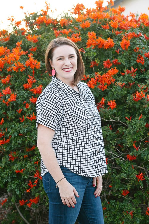 sew short sleeve button down shirt