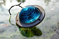 vintage exterior mounted accessory light blue lens