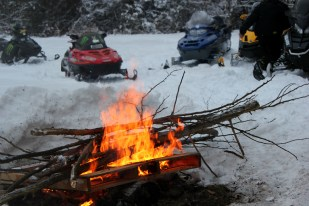 bonfire and sleds