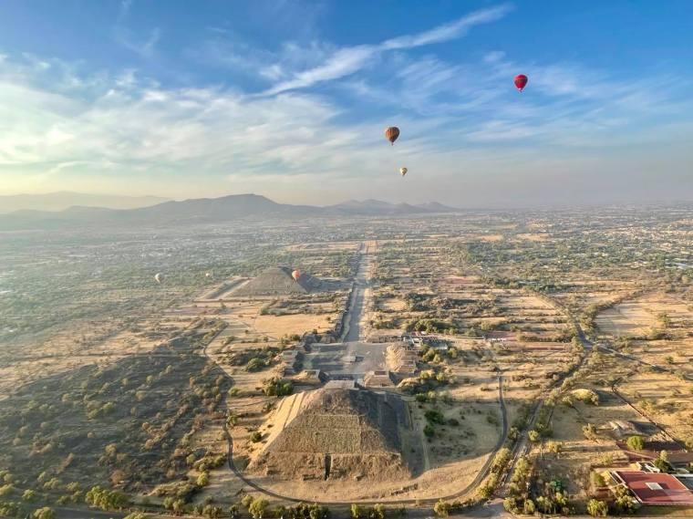 View of San Juan Teotihuacán from a Hot Air Balloon ride