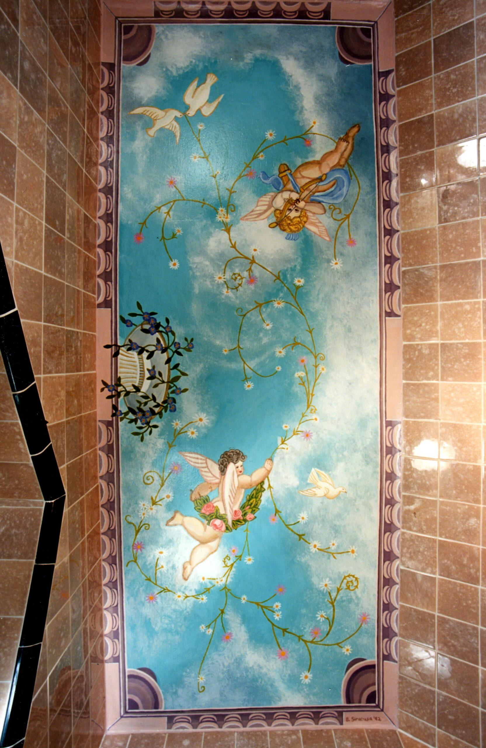 Victorian Cherub Ceiling For Bathroom in Westchester New York