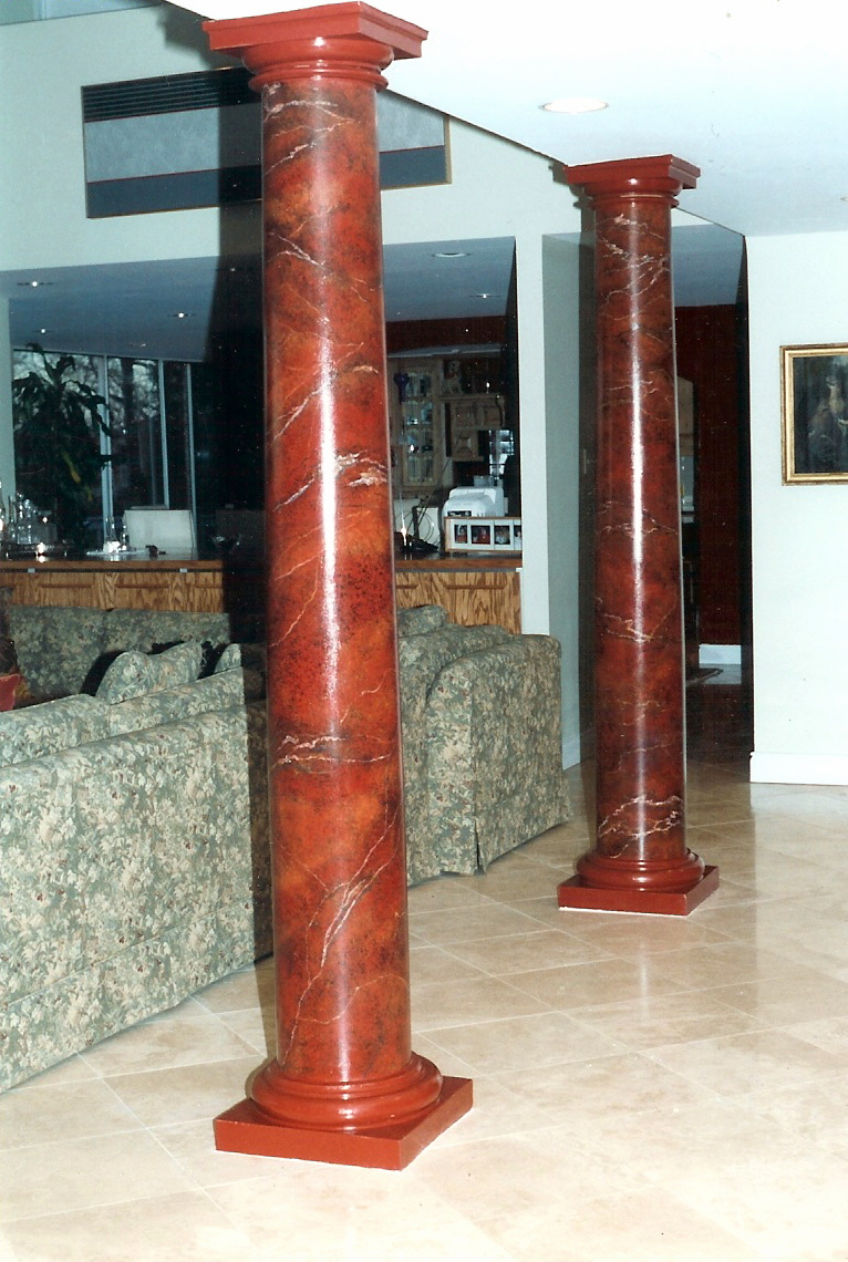 Faux Marble Columns For Living Room and Fireplace Mantel