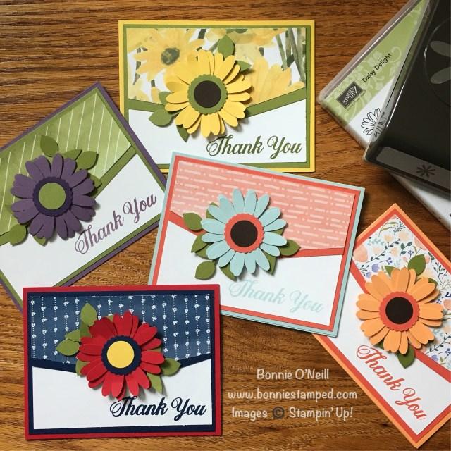 #daisydelight #bundle #bonniestamped #thankyou #cards #stampinup #delightfuldaisyDSP
