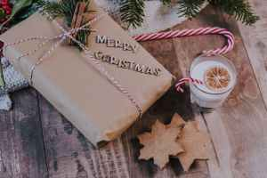 glass of milk near christmas present