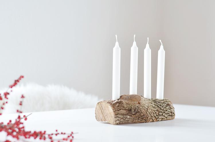 Schlichter Adventskranz aus Holz