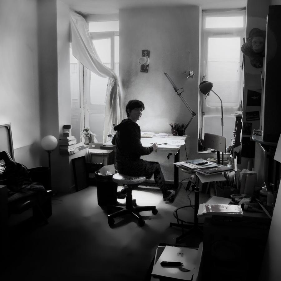 Céline Guichard dans son atelier le 8 mai 2013 - Photo Alain François