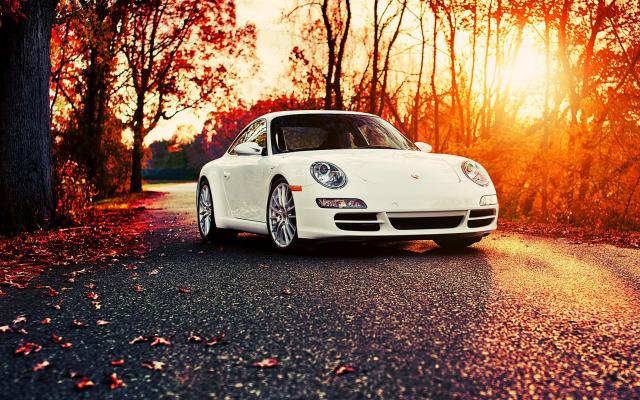 Fall Cellphone Wallpaper Wallpapers Porsche 911 Car Autumn Leaf Sunset Porsche