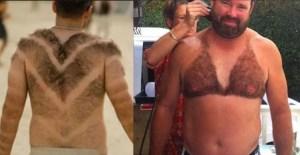 épilation très particulière chez ces 2 hommes qui n'ont épilé qu'une partie de leur dos ou torse