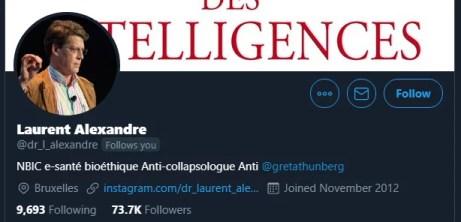 Laurent Alexandre follows you on twitter
