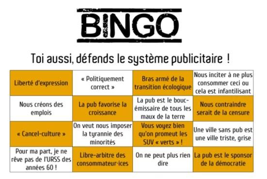 Le bingo de la publicité !