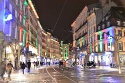 Jeux de lumières dans les rues de Strasbourg à la période de Noël