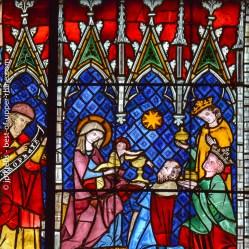 Vitrail. Adoration des rois Mages. Cathédrale de Strasbourg.