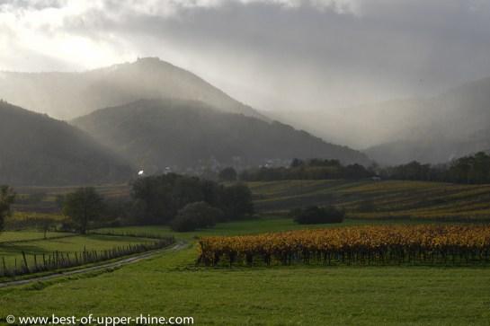 Le Mont Sainte-Odile, à l'arrière-plan sur le sommet de la montagne