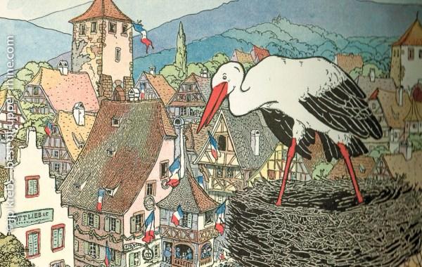 La cigogne blanche veille sur le village de Dambach-la-ville. Gravure de Hansi.
