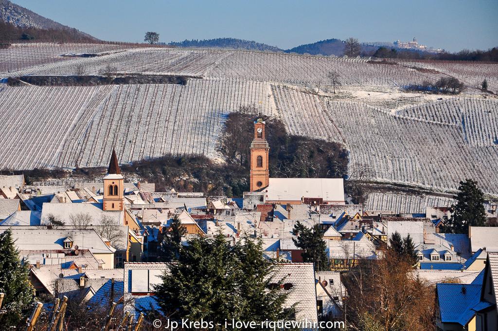 Riquewihr, l'église catholique et le temple protestant