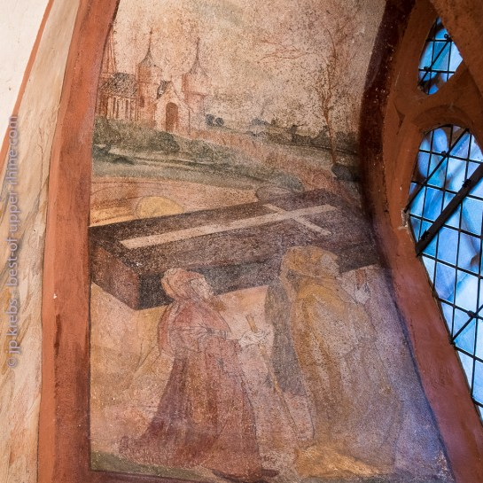 Hunawihr fresques du XVe siècle. Les reliques de Saint Nicolas quittent Myre