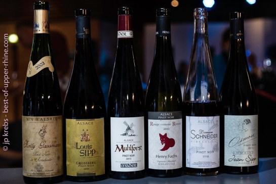Les 6 pinot noir, rouges d'Alsace