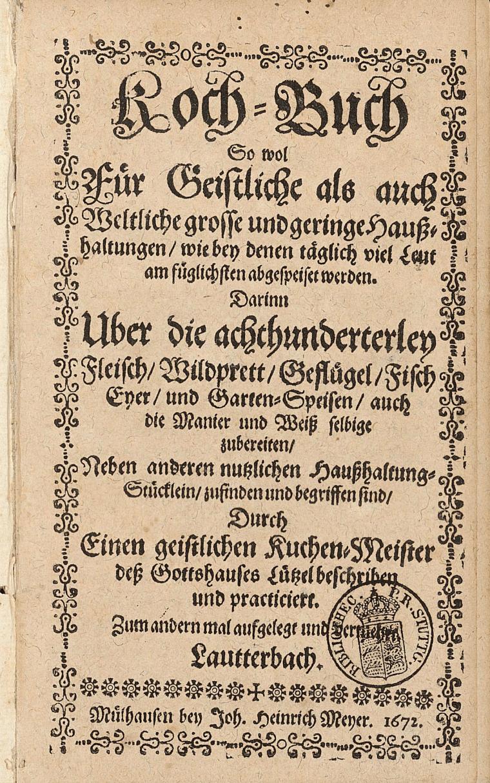 Page de garde du livre de cuisine de Bernhard Buchinger publié en 1672