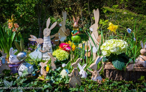 Lièvres de Pâques dans un jardin en Alsace